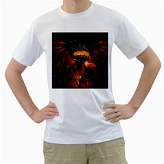 Dragon Legend Art Fire Digital Fantasy Men s T Shirt (white)