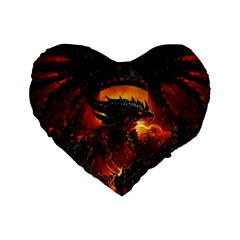 Dragon Legend Art Fire Digital Fantasy Standard 16  Premium Flano Heart Shape Cushions by BangZart