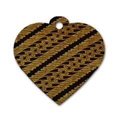 Traditional Art Indonesian Batik Dog Tag Heart (one Side)