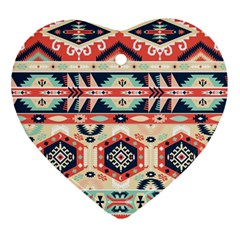 Aztec Pattern Heart Ornament (two Sides)