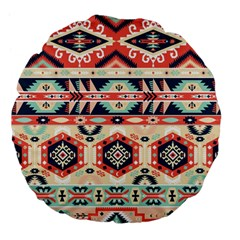 Aztec Pattern Large 18  Premium Flano Round Cushions by BangZart