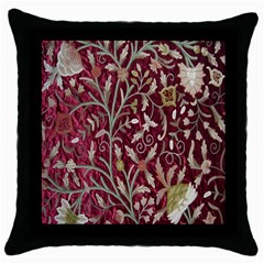 Crewel Fabric Tree Of Life Maroon Throw Pillow Case (black) by BangZart