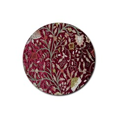 Crewel Fabric Tree Of Life Maroon Rubber Coaster (round)