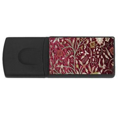 Crewel Fabric Tree Of Life Maroon Rectangular Usb Flash Drive