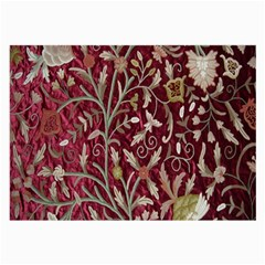 Crewel Fabric Tree Of Life Maroon Large Glasses Cloth (2 Side)
