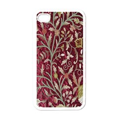 Crewel Fabric Tree Of Life Maroon Apple Iphone 4 Case (white)