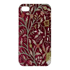 Crewel Fabric Tree Of Life Maroon Apple Iphone 4/4s Hardshell Case