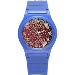 Crewel Fabric Tree Of Life Maroon Round Plastic Sport Watch (s) by BangZart