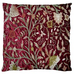 Crewel Fabric Tree Of Life Maroon Large Cushion Case (one Side) by BangZart