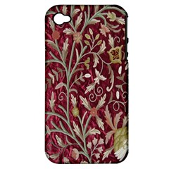 Crewel Fabric Tree Of Life Maroon Apple Iphone 4/4s Hardshell Case (pc+silicone)
