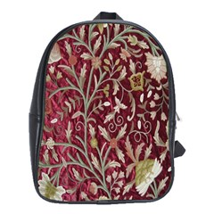 Crewel Fabric Tree Of Life Maroon School Bags (xl)  by BangZart