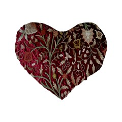 Crewel Fabric Tree Of Life Maroon Standard 16  Premium Heart Shape Cushions