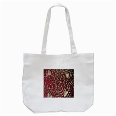 Crewel Fabric Tree Of Life Maroon Tote Bag (white)