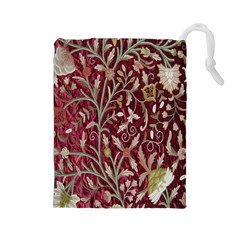 Crewel Fabric Tree Of Life Maroon Drawstring Pouches (large)