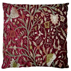 Crewel Fabric Tree Of Life Maroon Large Flano Cushion Case (two Sides)