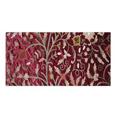 Crewel Fabric Tree Of Life Maroon Satin Shawl