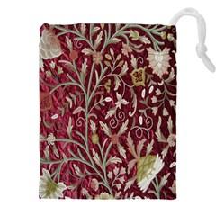 Crewel Fabric Tree Of Life Maroon Drawstring Pouches (xxl)