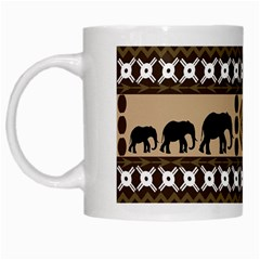 Elephant African Vector Pattern White Mugs by BangZart