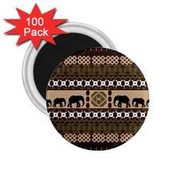 Elephant African Vector Pattern 2 25  Magnets (100 Pack)