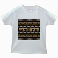 Elephant African Vector Pattern Kids White T Shirts