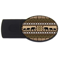 Elephant African Vector Pattern Usb Flash Drive Oval (2 Gb)