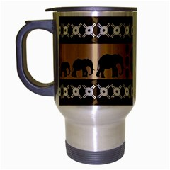 Elephant African Vector Pattern Travel Mug (silver Gray)