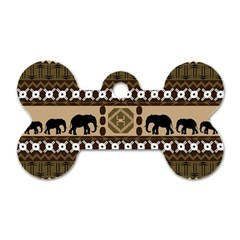 Elephant African Vector Pattern Dog Tag Bone (two Sides)
