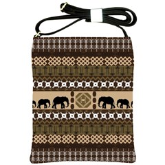 Elephant African Vector Pattern Shoulder Sling Bags