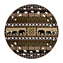 Elephant African Vector Pattern Ornament (round Filigree) by BangZart