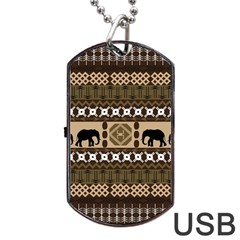 Elephant African Vector Pattern Dog Tag Usb Flash (one Side) by BangZart