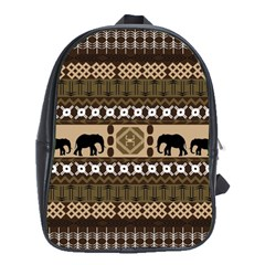Elephant African Vector Pattern School Bags (xl)  by BangZart
