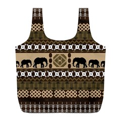 Elephant African Vector Pattern Full Print Recycle Bags (l)