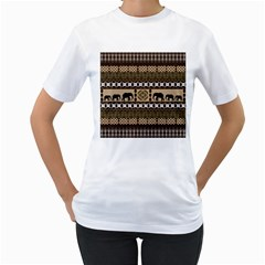 Elephant African Vector Pattern Women s T Shirt (white)