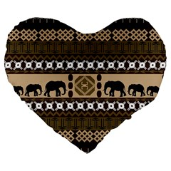 Elephant African Vector Pattern Large 19  Premium Flano Heart Shape Cushions