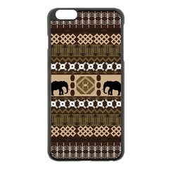 Elephant African Vector Pattern Apple Iphone 6 Plus/6s Plus Black Enamel Case