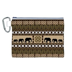 Elephant African Vector Pattern Canvas Cosmetic Bag (l)