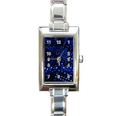Blue Circuit Technology Image Rectangle Italian Charm Watch