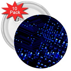 Blue Circuit Technology Image 3  Buttons (10 Pack)