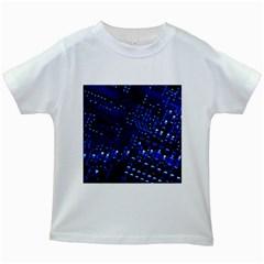 Blue Circuit Technology Image Kids White T Shirts