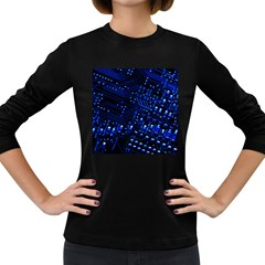 Blue Circuit Technology Image Women s Long Sleeve Dark T Shirts
