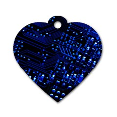 Blue Circuit Technology Image Dog Tag Heart (one Side)