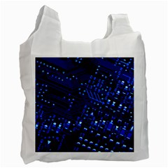 Blue Circuit Technology Image Recycle Bag (one Side) by BangZart
