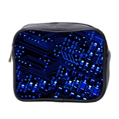 Blue Circuit Technology Image Mini Toiletries Bag 2 Side