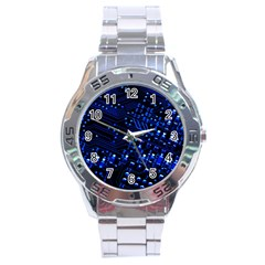 Blue Circuit Technology Image Stainless Steel Analogue Watch by BangZart
