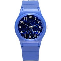 Blue Circuit Technology Image Round Plastic Sport Watch (s)