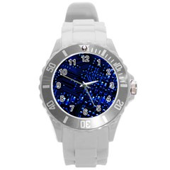Blue Circuit Technology Image Round Plastic Sport Watch (l) by BangZart