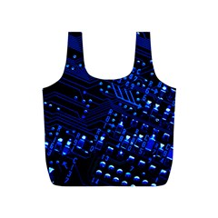 Blue Circuit Technology Image Full Print Recycle Bags (s)