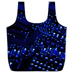 Blue Circuit Technology Image Full Print Recycle Bags (l)