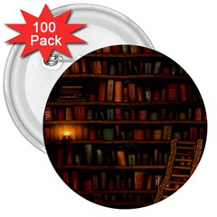 Books Library 3  Buttons (100 Pack)