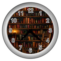 Books Library Wall Clocks (silver)  by BangZart